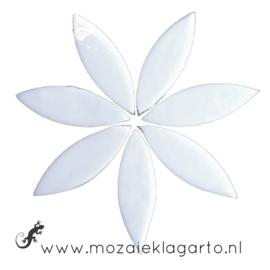 Bloemblaadjes Tiffanyglas 16x50x3 mm per 7 Wit 300-2