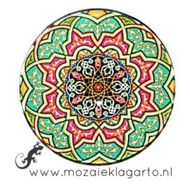 Cabochon/Plaksteen Glas 30 mm Mandala Groen - Roze - Geel 70007