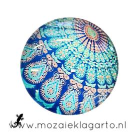 Cabochon/Plaksteen Glas 30 mm Mandala Aqua-Blauw 5014