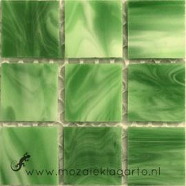 Tiffany glastegels 2x2 cm per 25 Groen gevlamd 021