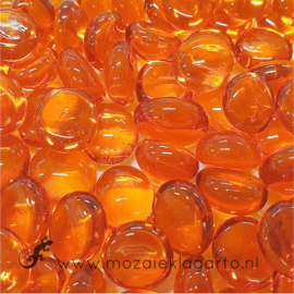 Glas Nugget Mini 9-13 mm Transparant 50 gram Oranje 4368