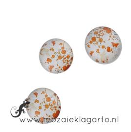 Cabochon/Plaksteen Glas 18 mm per 5 Bloemen Wit/Oranje 18825