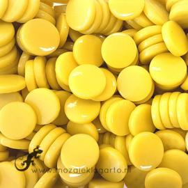 Glastegel Rond 18 mm Geel per 50 gram