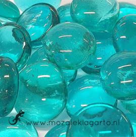 Glas Nugget 17-22 mm Transparant 50 gram Zeegroen 4409