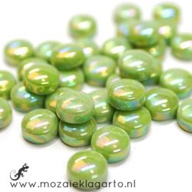 Glasdruppel Rond 12 mm per 50 gram Parelmoer Lichtgroen 011P