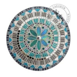 Schaal Mandala Grijs/Aqua/Zilver
