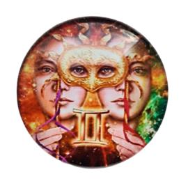 Cabochon/Plaksteen Glas 25 mm Horoscoop Tweelingen 1117