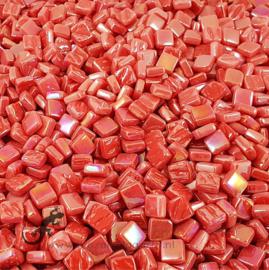 Mozaiek tegeltjes glas 8 x 8 mm Parelmoer per 50 gram Oranjerood 106P