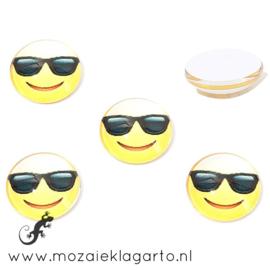 Cabochon/Plaksteen Glas 16 mm per 2 Smile Zonnebril 31399