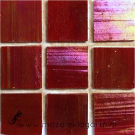 Tiffany glastegels 2x2 cm per 25 Donkerrood Iriserend 014