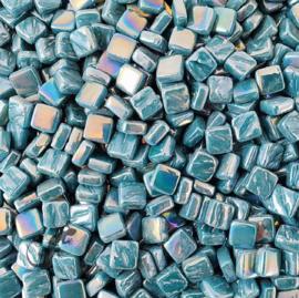 Mozaiektegeltjes glas 8 x 8 mm Parelmoer per 50 gram Donker Zeegroen 016P