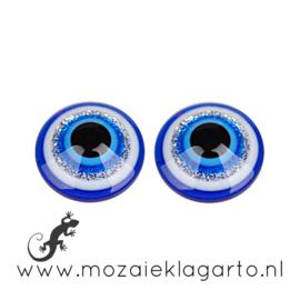 Decoratiesteen kunststof  12 mm Rond per 2 Blauw/Wit 000