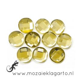 Glas facet geslepen rond 12 mm per 10  Geel 609