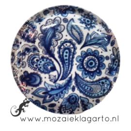 Cabochon/Plaksteen Glas 30 mm Paisley  blauw - Wit 59793