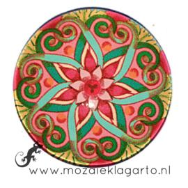 Cabochon/Plaksteen Glas 30 mm Mandala Groen - Roze - Geel 70006