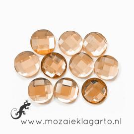 Glas facet geslepen rond 12 mm per 10  Champagne 608