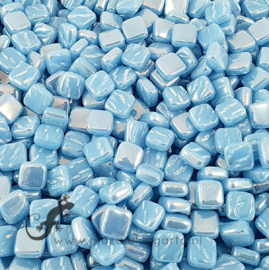 Mozaiek tegeltjes glas 8 x 8 mm Parelmoer per 50 gram Aqua 063P