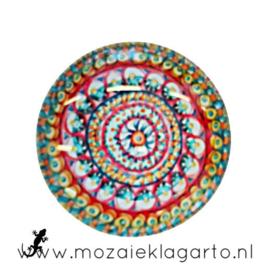 Cabochon/Plaksteen Glas 30 mm Mandala Multicolor  5003
