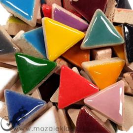 Geglazuurde keramiek driehoekjes 15 mm per 50 gram Bont 300