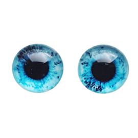 Cabochon/Plaksteen Oogjes 12 mm per 2 Aqua/Blauw 325-12