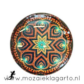 Cabochon/Plaksteen Glas 30 mm Bloemen Bruin-Zeegroen 5016