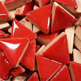 Geglazuurde keramiek driehoekjes 15 mm per 50 gram Rood 401