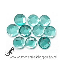 Glas facet geslepen rond 12 mm per 10  Aqua 602