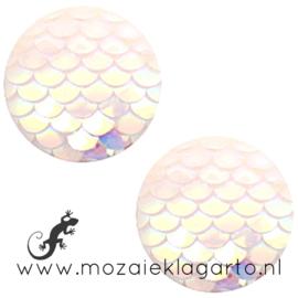 Decoratiesteen kunststof Holografisch 12 mm per 5 Wit 58611