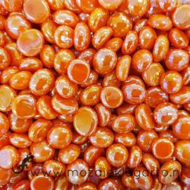 Glas Nugget Mini 9-13 mm Opaal Iriserend 50 gram Oranje 4381