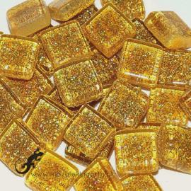 Glasmozaiek glitter 1 x 1 cm per 50 gram Goud 83-10