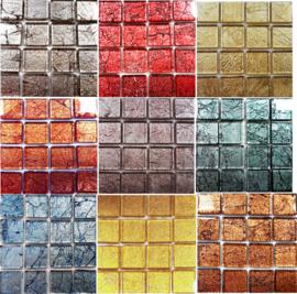 Folieglas/Glitterglas 2 x 2 cm per 16 tegels