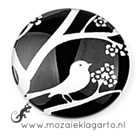 Cabochon/Plaksteen Glas 30 mm Zwart met witte vogel 12344
