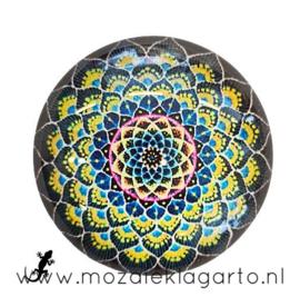 Cabochon/Plaksteen Glas 30 mm Mandala Geel-Zwart 5011