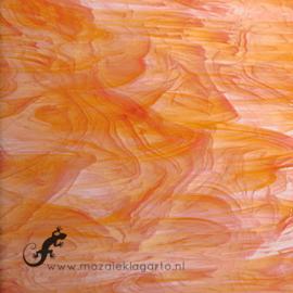 Glasplaat 20 x 20 cm Wit-Oranje Semi Translucent  SO375-1st