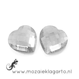 Glas facet geslepen hartje 15 mm per 2  Kristal 1200