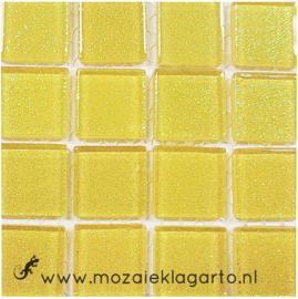 Glitter 2x2 cm per 16 tegels Geel 012