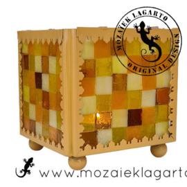 Mozaiekpakket 10 Waxinelichthouder Carré Geel
