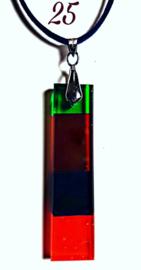 Handgemaakte glashanger Rood/Zwart/Groen
