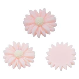 Decoratiesteen kunststof  22 mm bloem per 5 Roze 20682