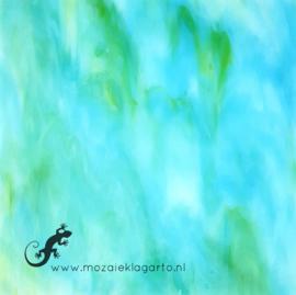 Glasplaat 20 x 20 cm Yang Translucent Wit/Aqua/Limoen Y035tl