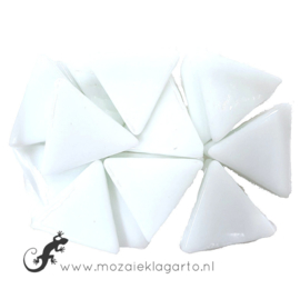 Glasmozaiek Driehoek 29 mm per 100 gram Wit 040