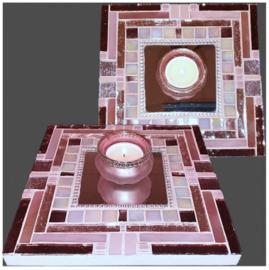 Mozaiek Spiegel/Waxinehouder Roze 013