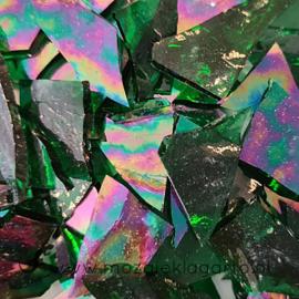 Gekleurde glasscherven Iriserend gewelfd Woudgroen  CAG312i