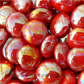 Glas Nugget 17-22 mm Opaal Iriserend 50 gram Rood 4447