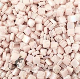 Mozaiektegeltjes glas 8 x 8 mm Parelmoer per 50 gram Pastel Roze 009