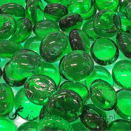 Glas Nugget Mini 9-13 mmTransparant 50 gram Smaragdgroen 4398