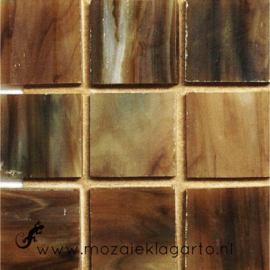 Tiffany glastegels 2x2 cm per 25 Donkerbruin 065