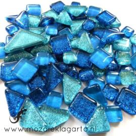 Glas Puzzelstukjes Glitter  Mix 100 gram Blauw/Aqua 874
