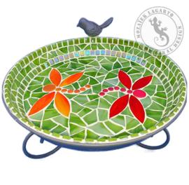 Mozaiekpakket 39 Vogelbadje  Groen-Rood-Oranje