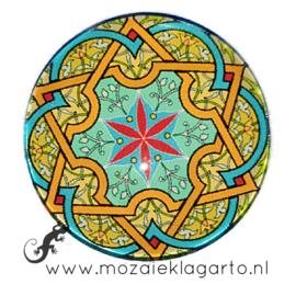 Cabochon/Plaksteen Glas 30 mm Mandala Groen - Geel - Zeegroen 70002